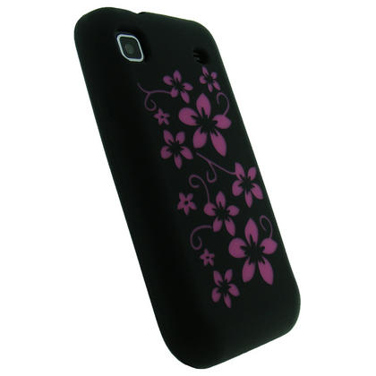 iGadgitz Black & Pink Flower Design Silicone Skin Case Cover for Samsung i9000 Galaxy S + Screen Protector Thumbnail 3