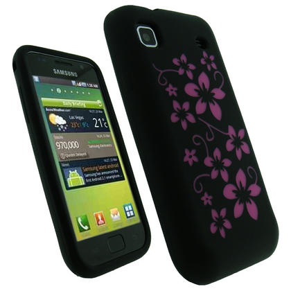 iGadgitz Black & Pink Flower Design Silicone Skin Case Cover for Samsung i9000 Galaxy S + Screen Protector Thumbnail 1