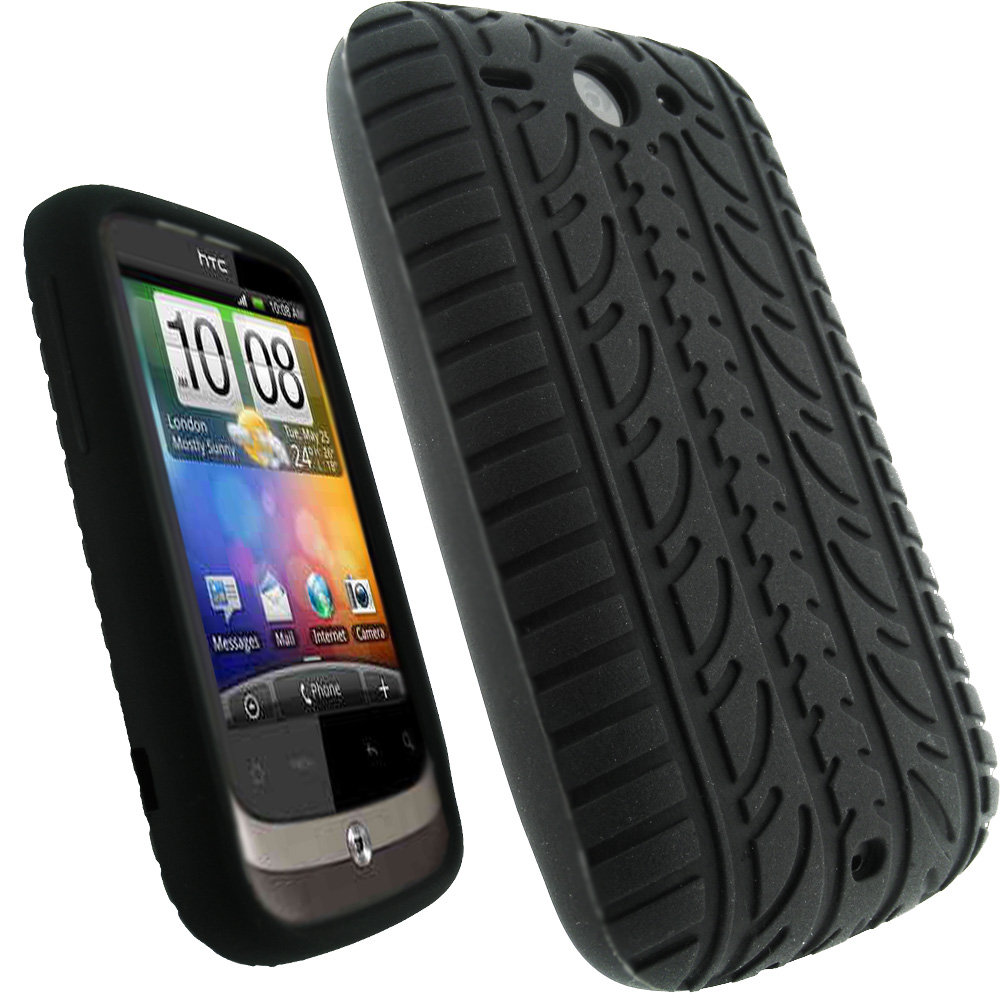iGadgitz Black Silicone Skin Case Cover with Tyre Tread Design for HTC Wildfire G8 + Screen Protector