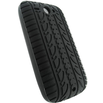 iGadgitz Black Silicone Skin Case Cover with Tyre Tread Design for HTC Wildfire G8 + Screen Protector Thumbnail 3