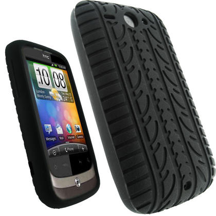 iGadgitz Black Silicone Skin Case Cover with Tyre Tread Design for HTC Wildfire G8 + Screen Protector Thumbnail 1