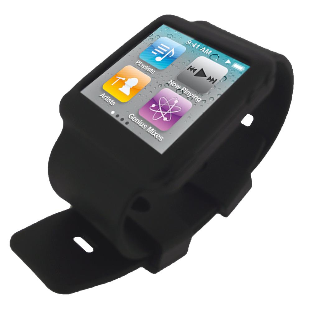 Igadgitz Black Silicone Skin Case Cover Strap For Apple Ipod Nano 6th Generation 8gb