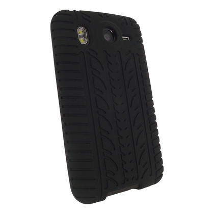 iGadgitz Black Silicone Skin Case Cover with Tyre Tread Design for HTC Desire HD + Screen Protector Thumbnail 3