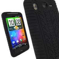 iGadgitz Black Silicone Skin Case Cover with Tyre Tread Design for HTC Desire HD + Screen Protector