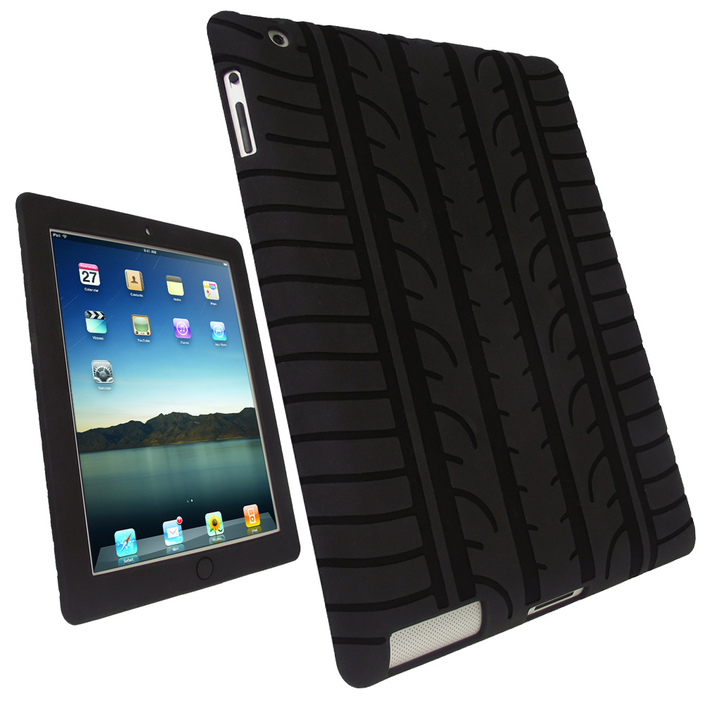 iGadgitz Black Tyre Tread Silicone Case for Apple iPad 2, 3 & 4 with Retina Display 16GB 32GB 64GB + Screen Protector