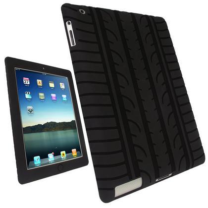 iGadgitz Black Tyre Tread Silicone Case for Apple iPad 2, 3 & 4 with Retina Display 16GB 32GB 64GB + Screen Protector Thumbnail 1