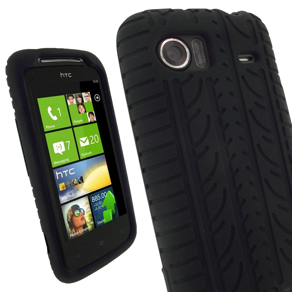 iGadgitz Black Silicone Skin Case Cover with Tyre Tread Design for HTC 7 Mozart + Screen Protector