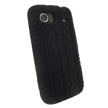 iGadgitz Black Silicone Skin Case Cover with Tyre Tread Design for HTC 7 Mozart + Screen Protector Thumbnail 3