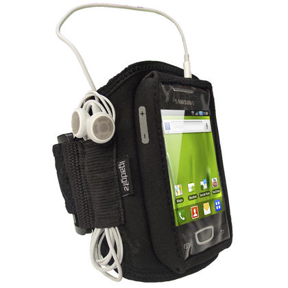 iGadgitz Black Water Resistant Neoprene Sports Armband for Samsung Galaxy Mini S5570 Thumbnail 1
