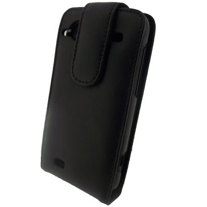 iGadgitz Black Genuine Leather Case Cover Holder for HTC Incredible S Smartphone Mobile Phone + Screen Protector Thumbnail 3