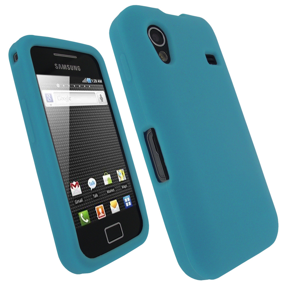 iGadgitz Blue Silicone Skin Case Cover for Samsung Galaxy Ace S5830 Android Smartphone Mobile Phone + Screen Protector