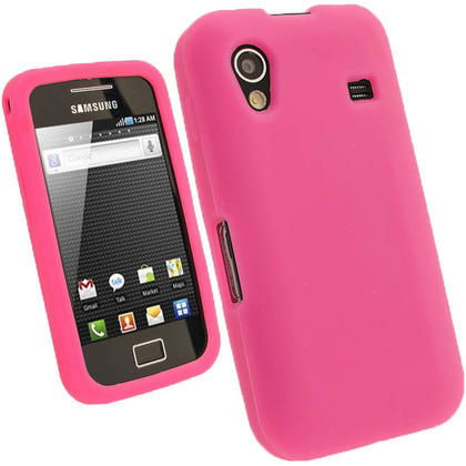 iGadgitz Pink Silicone Skin Case Cover for Samsung Galaxy Ace S5830 Android Smartphone Mobile Phone + Screen Protector Thumbnail 1