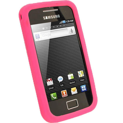 iGadgitz Pink Silicone Skin Case Cover for Samsung Galaxy Ace S5830 Android Smartphone Mobile Phone + Screen Protector Thumbnail 2