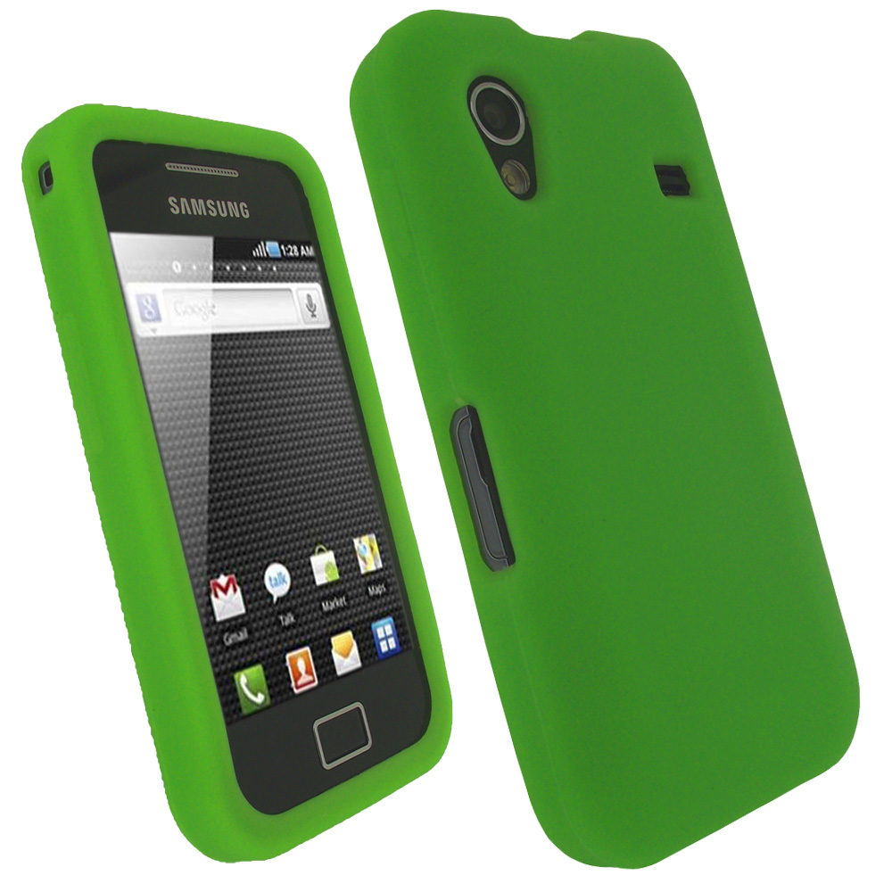 iGadgitz Green Silicone Skin Case Cover for Samsung Galaxy Ace S5830 Android Smartphone Mobile Phone + Screen Protector