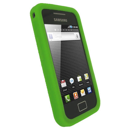 iGadgitz Green Silicone Skin Case Cover for Samsung Galaxy Ace S5830 Android Smartphone Mobile Phone + Screen Protector Thumbnail 2