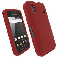 iGadgitz Red Silicone Skin Case Cover for Samsung Galaxy Ace S5830 Android Smartphone Mobile Phone + Screen Protector