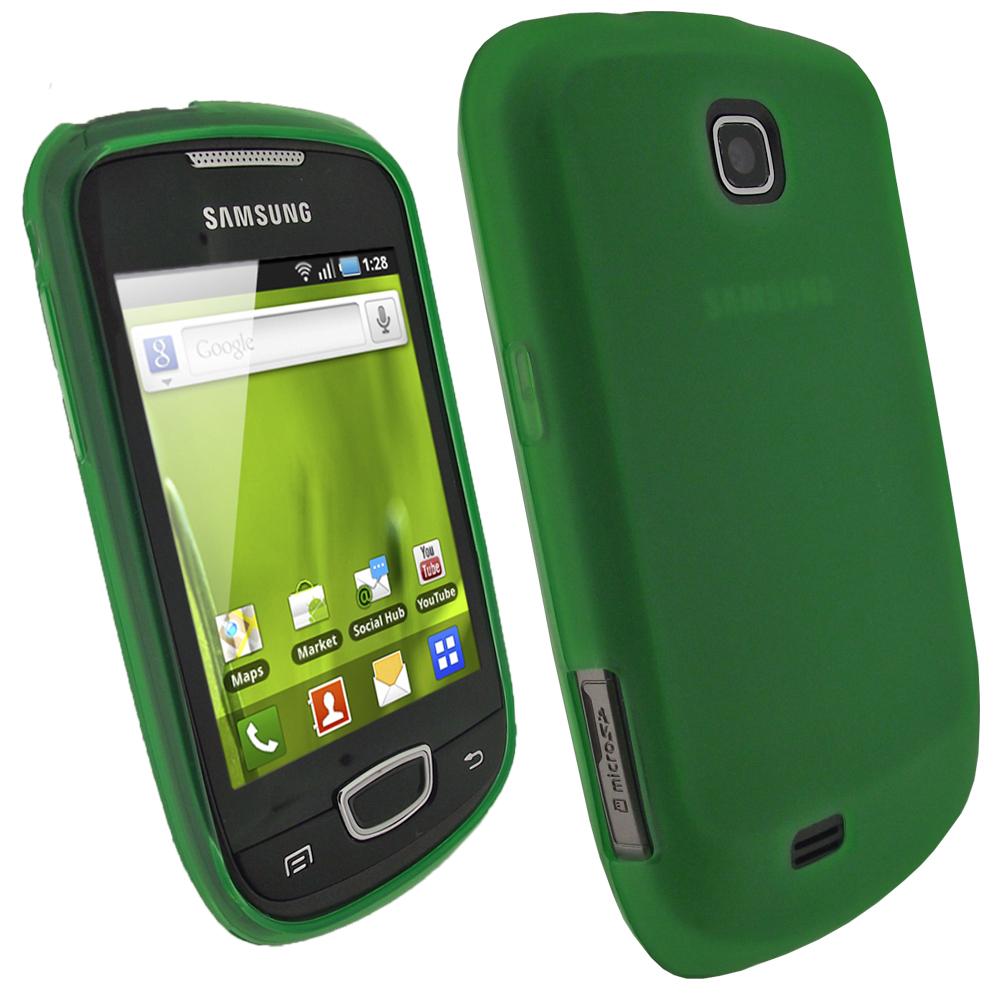 iGadgitz Green Gel Case for Samsung Galaxy Mini S5570 + Screen Protector