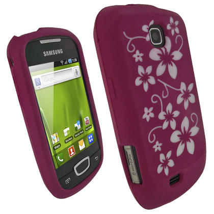 iGadgitz Pink & White Flowers Silicone Skin Case Cover for Samsung Galaxy Mini S5570 + Screen Protector Thumbnail 1