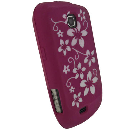 iGadgitz Pink & White Flowers Silicone Skin Case Cover for Samsung Galaxy Mini S5570 + Screen Protector Thumbnail 3