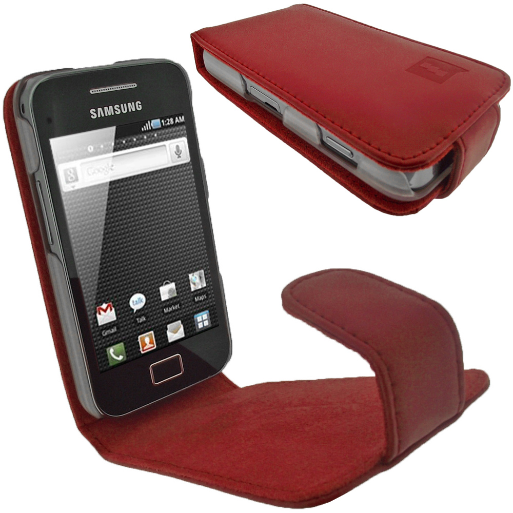 iGadgitz Red Genuine Leather Case Cover Holder for Samsung Galaxy Ace S5830 Smartphone Mobile Phone + Screen Protector