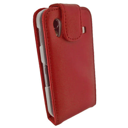 iGadgitz Red Genuine Leather Case Cover Holder for Samsung Galaxy Ace S5830 Smartphone Mobile Phone + Screen Protector Thumbnail 2