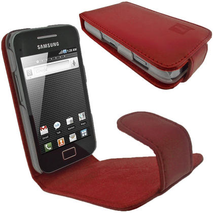 iGadgitz Red Genuine Leather Case Cover Holder for Samsung Galaxy Ace S5830 Smartphone Mobile Phone + Screen Protector Thumbnail 1