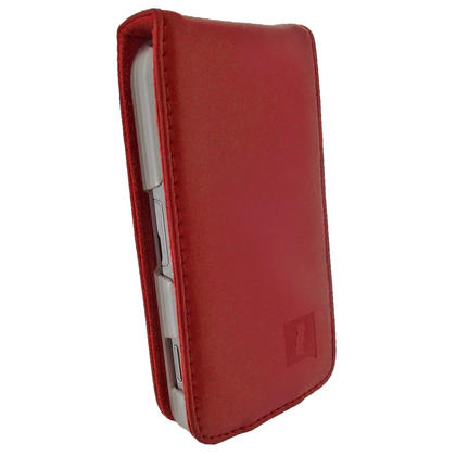 iGadgitz Red Genuine Leather Case Cover Holder for Samsung Galaxy Ace S5830 Smartphone Mobile Phone + Screen Protector Thumbnail 3