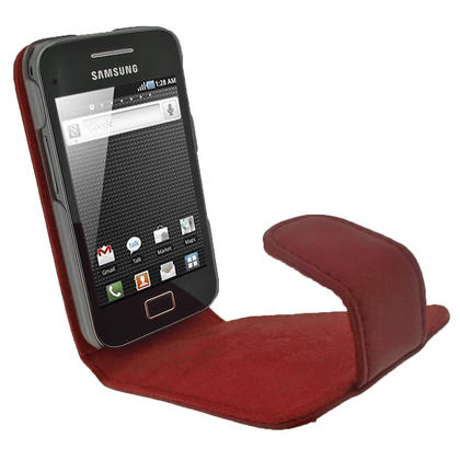 iGadgitz Red Genuine Leather Case Cover Holder for Samsung Galaxy Ace S5830 Smartphone Mobile Phone + Screen Protector Thumbnail 5