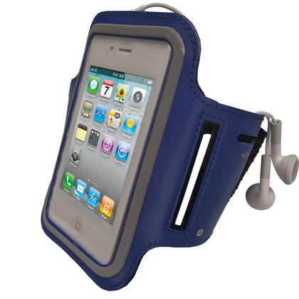iGadgitz Blue Reflective Anti-Slip Neoprene Sports Gym Jogging Armband for Apple iPhone 4 HD & 4S 16GB, 32GB & 64GB Thumbnail 1