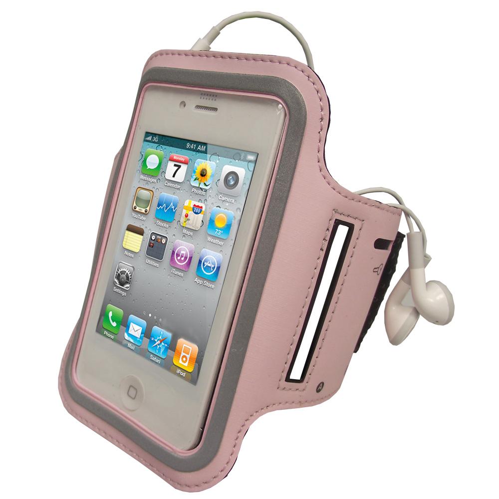 iGadgitz Pink Reflective Anti-Slip Neoprene Sports Gym Jogging Armband for Apple iPhone 4 HD & 4S 16GB, 32GB & 64GB
