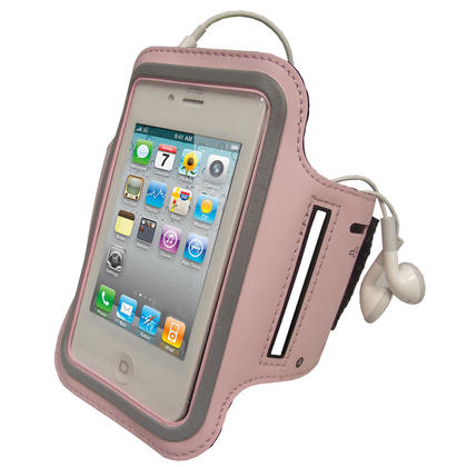 iGadgitz Pink Reflective Anti-Slip Neoprene Sports Gym Jogging Armband for Apple iPhone 4 HD & 4S 16GB, 32GB & 64GB Thumbnail 1