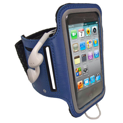 iGadgitz Blue Reflective Anti-Slip Sports Armband for Apple iPod Touch 2nd, 3rd & 4th Gen 8gb, 16gb, 32gb & 64gb Thumbnail 1