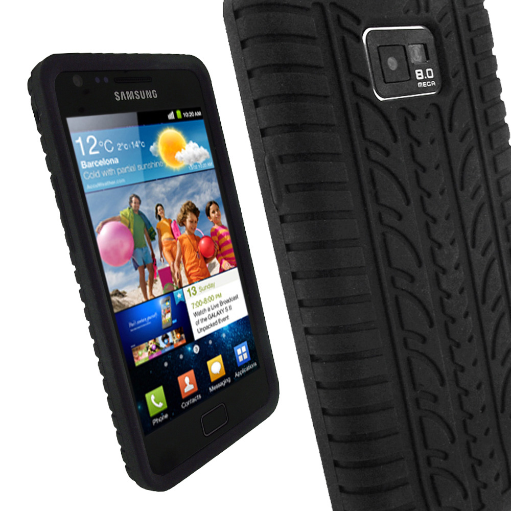 iGadgitz Black Silicone Skin Case Cover with Tyre Tread Design for Samsung Galaxy S2 i9100 + Screen Protector