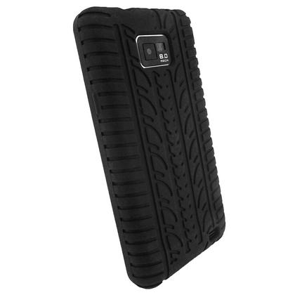 iGadgitz Black Silicone Skin Case Cover with Tyre Tread Design for Samsung Galaxy S2 i9100 + Screen Protector Thumbnail 3