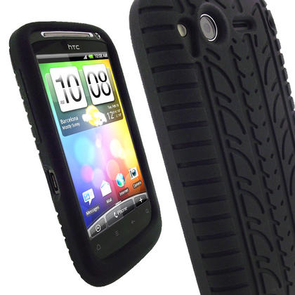 iGadgitz Black Silicone Skin Case Cover with Tyre Tread Design for HTC Desire S + Screen Protector Thumbnail 1