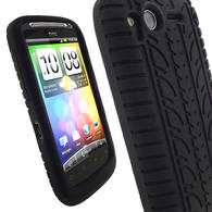 iGadgitz Black Silicone Skin Case Cover with Tyre Tread Design for HTC Desire S + Screen Protector