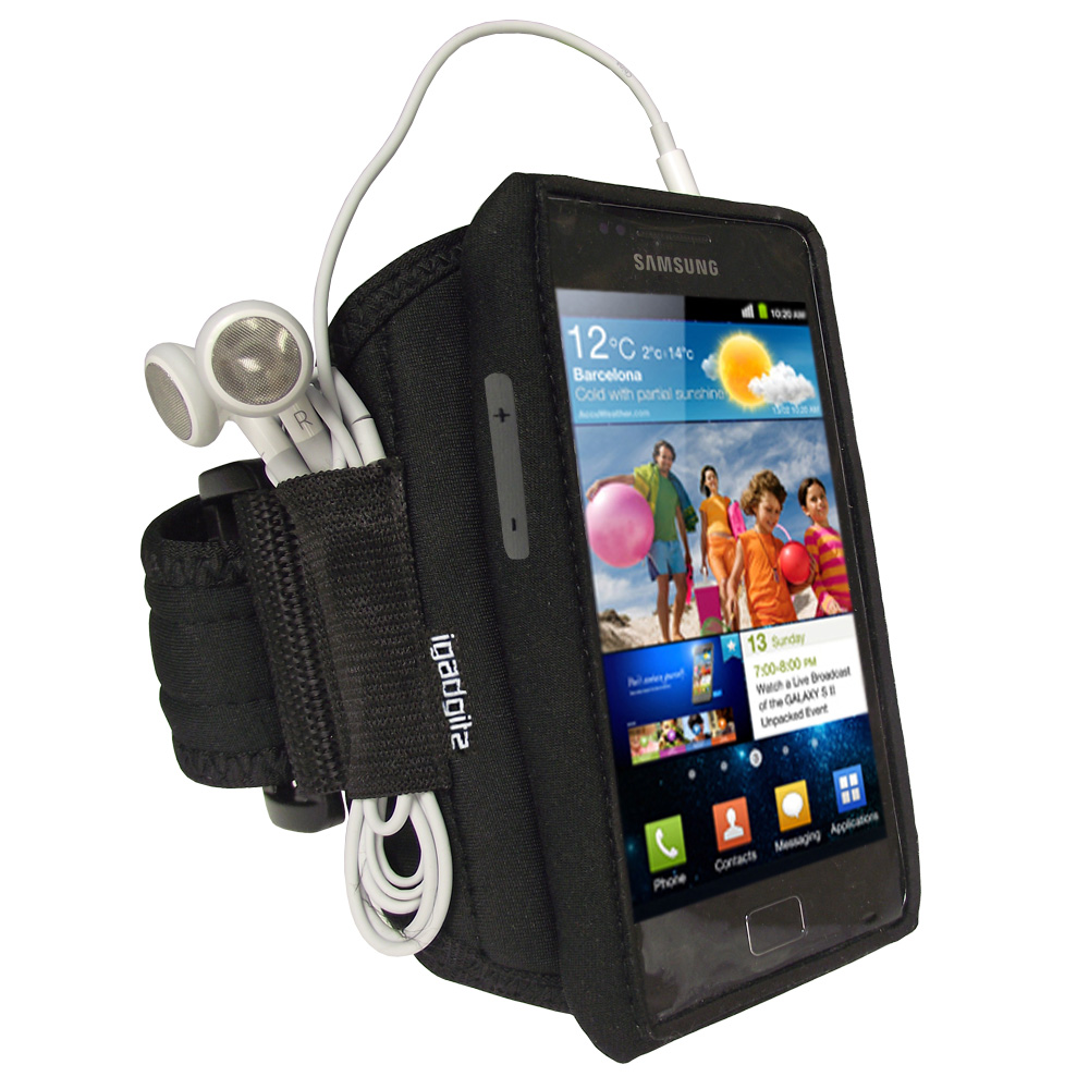 iGadgitz Black Water Resistant Neoprene Sports Armband for Samsung Galaxy S2 i9100