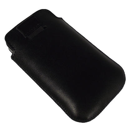 iGadgitz Black Genuine Leather Pouch Case Cover for Samsung Galaxy Y S5360 Android Smartphone Mobile Phone Thumbnail 3