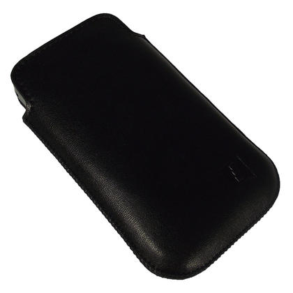 iGadgitz Black Genuine Leather Pouch Case Cover for Samsung Galaxy Y S5360 Android Smartphone Mobile Phone Thumbnail 2