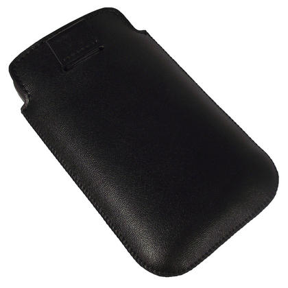 iGadgitz Black Genuine Leather Pouch Case Cover for HTC Desire HD Android Smartphone Mobile Phone Thumbnail 3