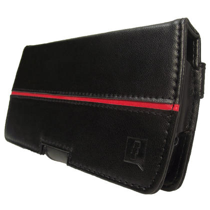 iGadgitz Black Genuine Leather Case Cover for Archos 43 Android Internet Tablet Thumbnail 2