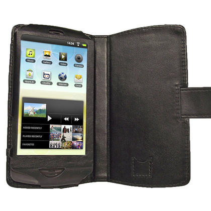 iGadgitz Black Genuine Leather Case Cover for Archos 43 Android Internet Tablet Thumbnail 4