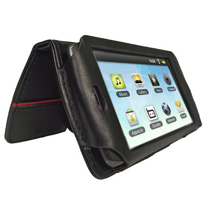 iGadgitz Black Genuine Leather Case Cover for Archos 43 Android Internet Tablet Thumbnail 1