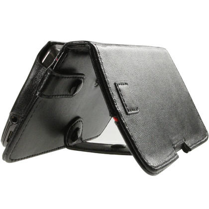 iGadgitz Black Genuine Leather Case Cover for Archos 43 Android Internet Tablet Thumbnail 5