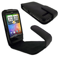iGadgitz Black Genuine Leather Case Cover Holder for HTC Desire S Android Smartphone Mobile Phone + Screen Protector