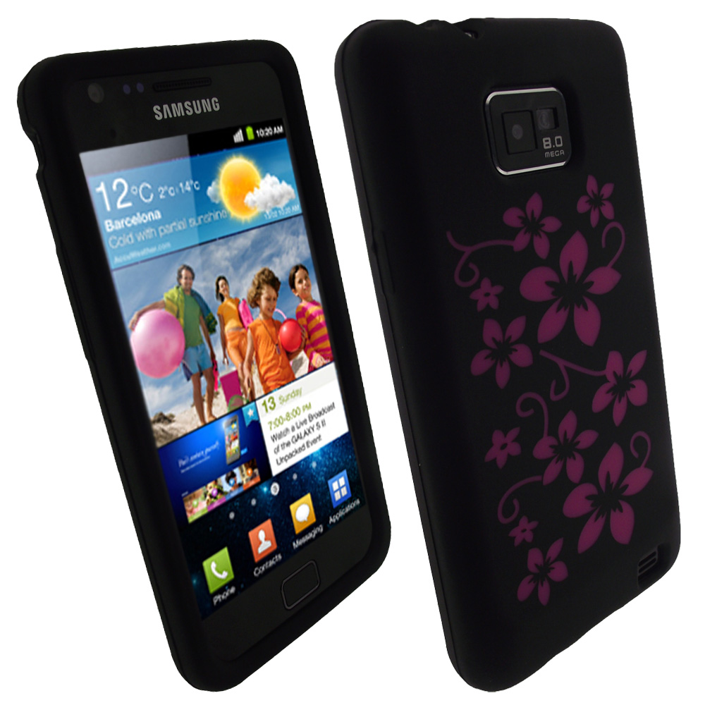 iGadgitz Black & Pink Flowers Silicone Skin Case Cover for Samsung i9100 Galaxy S2 + Screen Protector