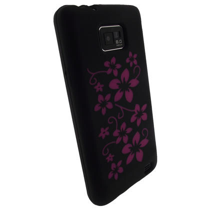 iGadgitz Black & Pink Flowers Silicone Skin Case Cover for Samsung i9100 Galaxy S2 + Screen Protector Thumbnail 3