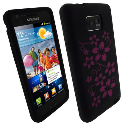iGadgitz Black & Pink Flowers Silicone Skin Case Cover for Samsung i9100 Galaxy S2 + Screen Protector Thumbnail 1