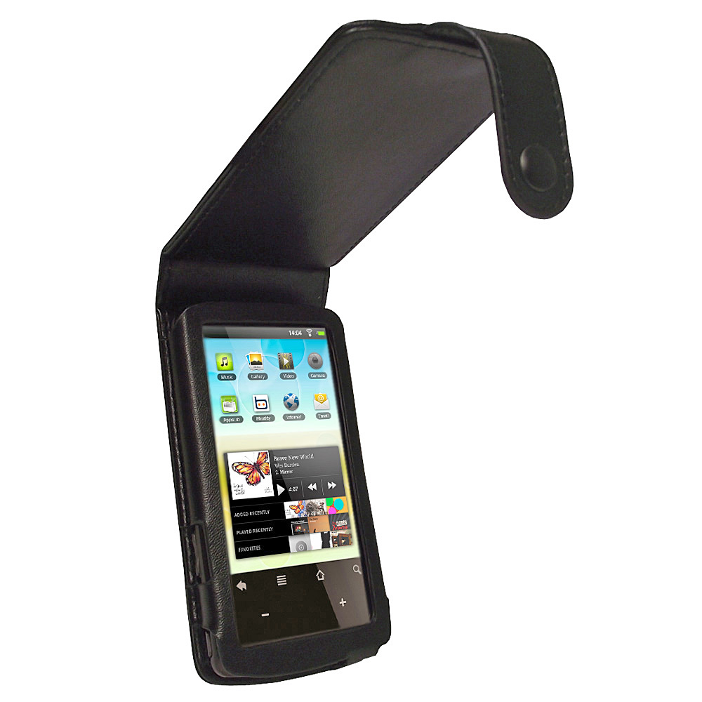 iGadgitz Black Genuine Leather Case Cover for Archos 32 Android Internet Tablet 8gb
