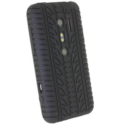 iGadgitz Black Silicone Skin Case Cover with Tyre Tread Design for HTC Evo 3D + Screen Protector Thumbnail 3